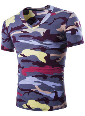 Hot Camouflage Loose Fit Short Sleeves V-Neck T-Shirt For Men PURPLE L