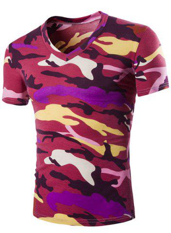 New Camouflage Loose Fit Short Sleeves V-Neck T-Shirt For Men - L RED Mobile