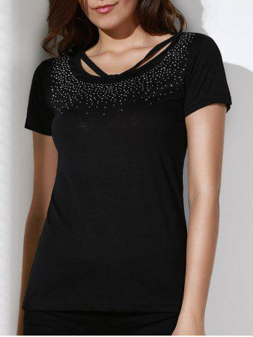 Chic Brief Scoop Neck Rhinestone Embellished Short Sleeve T-Shirt For Women