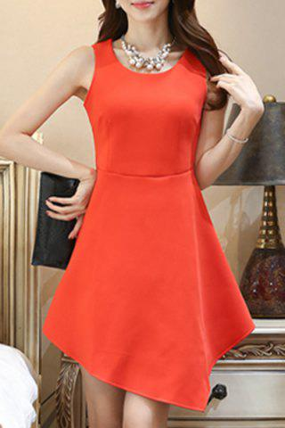 Store Chic Scoop Neck Sleeveless Pure Color Asymmetric Women's Dress