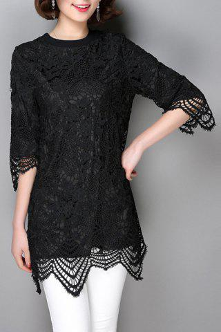 Outfits Women's Trendy Lace Asymmetrical 3/4 Sleeve Jewel Neck Dress