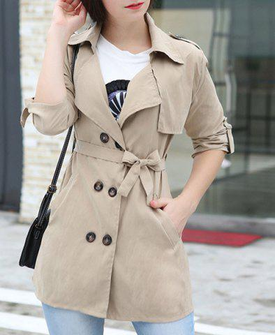 Latest Stylish Turn-Down Collar Long Sleeve Double-Breasted Khaki Belted Coat For Women