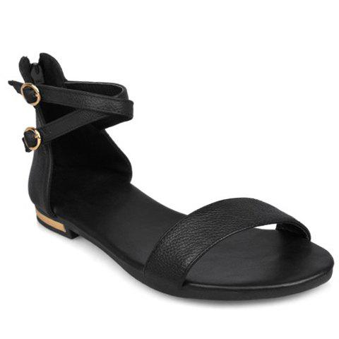 Affordable Simple Zipper and PU Leather Design Sandals For Women BLACK 38