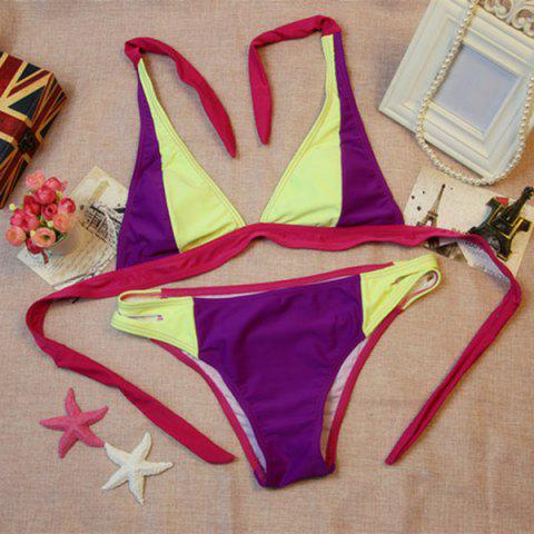 Latest Sexy Halter Hit Color High-Cut Bikini For Women COLORMIX S