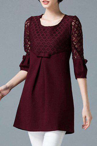 Casual Cut Out 3/4 Sleeve Bowknot Design High Waist Knitted Dress For Women