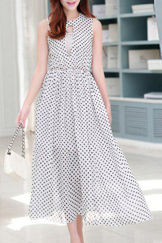 Cheap Ladylike Jewel Neck Sleeveless Polka Dot Cut Out Chiffon Dress For Women