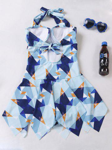 Fashion Trendy Halter Geometric Print Asymmetrical Women's Swimwear SAPPHIRE BLUE M