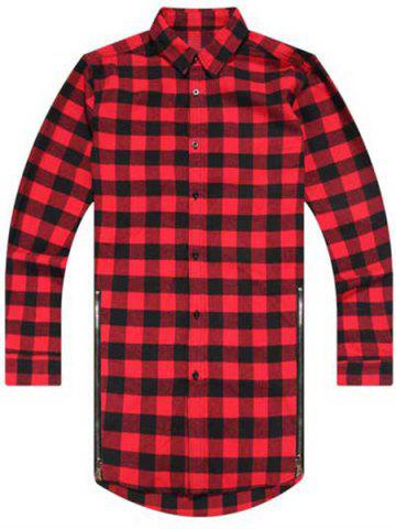 Outfits Turn-Down Collar Plaid Print Zipper Embellished Long Sleeve Men's Shirt