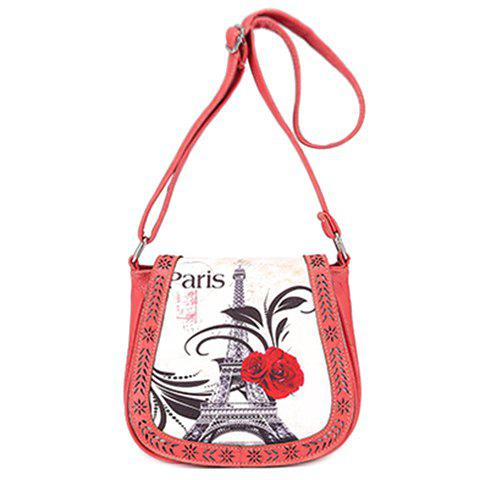 Cheap Stylish Floral Print and Engraving Design Shoulder Bag For Women - WATERMELON RED  Mobile