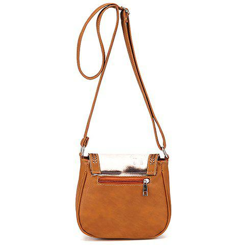 Discount Stylish Floral Print and Engraving Design Shoulder Bag For Women - BROWN  Mobile