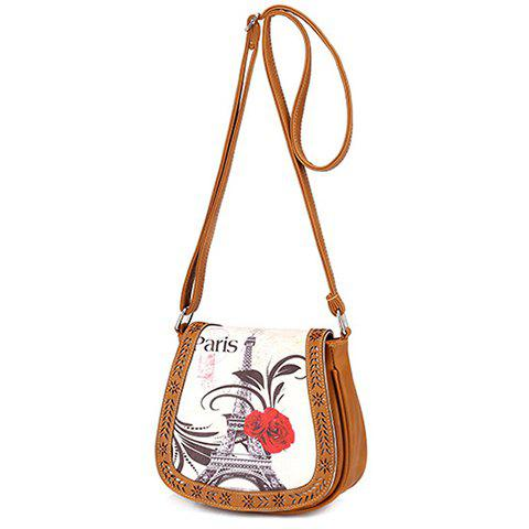 Hot Stylish Floral Print and Engraving Design Shoulder Bag For Women - BROWN  Mobile