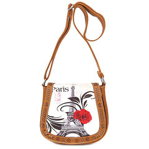 Store Stylish Floral Print and Engraving Design Shoulder Bag For Women - BROWN  Mobile