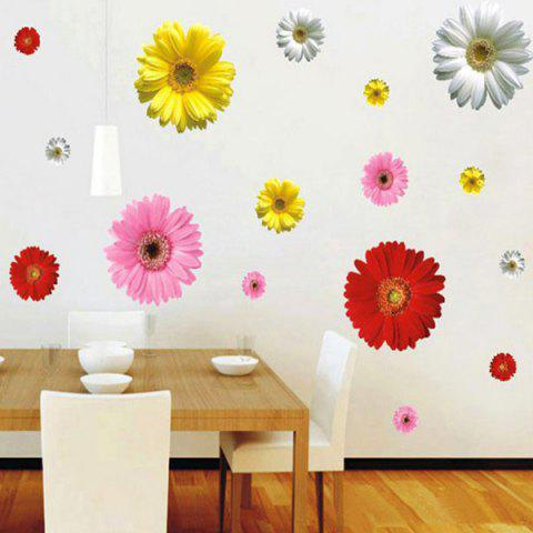 Discount Fashion Removable Colorful Daisy Pattern Bedroom Decoration Wall Stickers