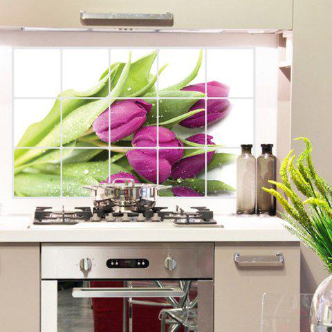Purple 3d removable tulip pattern kitchen decoration wall for Deco cuisine carrelage mural