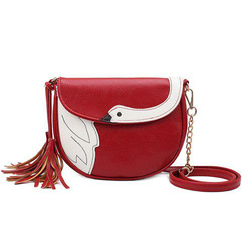Best Cute Tassels and Swan Pattern Design Crossbody Bag For Women - DEEP RED  Mobile
