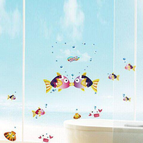 Outfits Removable Kissing Fish Vinyl Home Decoration Wall Stickers COLORMIX