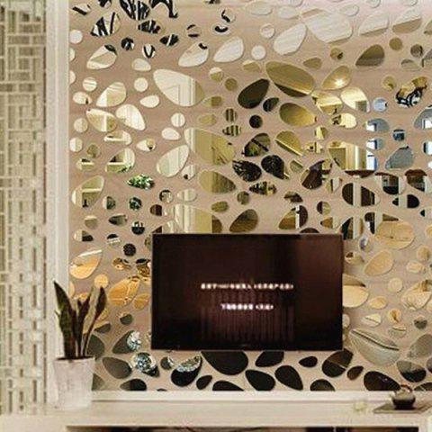Mirrored Wall Decals silver 12 pcs diy combination type pebble mirror wall stickers