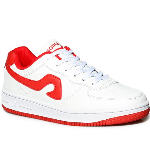 Fashion Fashion Lace-Up and Color Matching Design Sneakers For Women RED WITH WHITE 37
