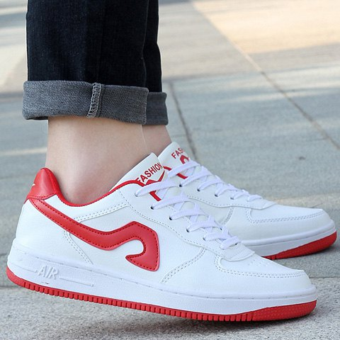 New Fashion Lace-Up and Color Matching Design Sneakers For Women - 40 RED WITH WHITE Mobile