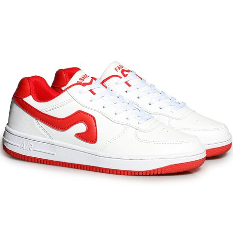 Trendy Fashion Lace-Up and Color Matching Design Sneakers For Women - 40 RED WITH WHITE Mobile