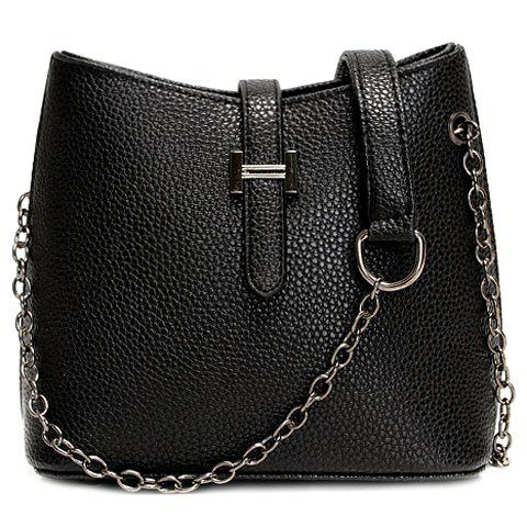 Shops Fashionable Chain and Solid Colour Design Crossbody Bag For Women - BLACK  Mobile