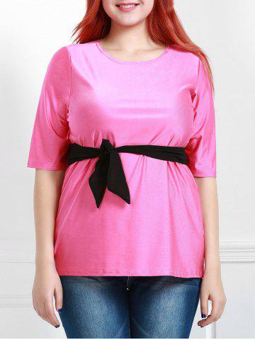 Cheap Casual Round Collar Half Sleeve Belted Plus Size Blouse For Women ROSE L