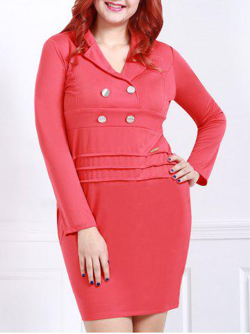 Fancy Graceful Lapel Red Long Sleeve Dress For Women RED 2XL