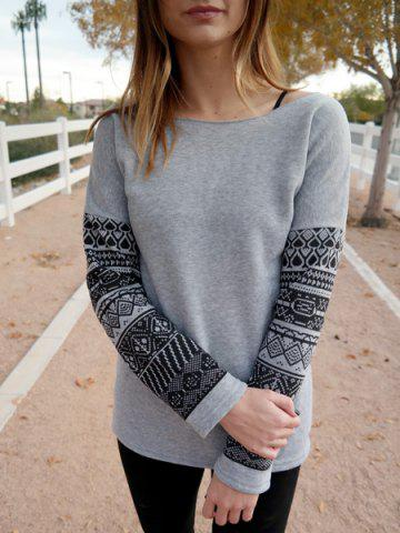 Sale Casual Scoop Neck Geometric Print Spliced Thick Sweatshirt For Women - XL GRAY Mobile