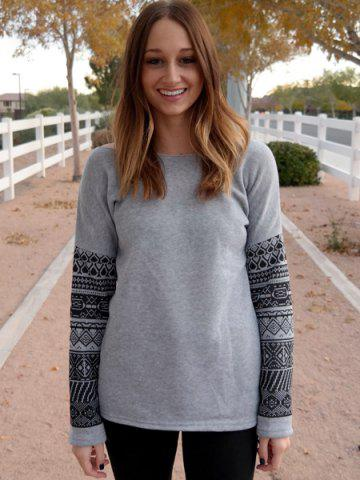 Online Casual Scoop Neck Geometric Print Spliced Thick Sweatshirt For Women - XL GRAY Mobile