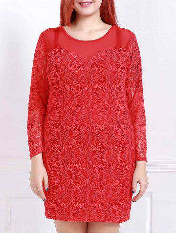 Trendy Stylish Scoop Neck 3/4 Sleeve Solid Color Plus Size Women's Lace Dress