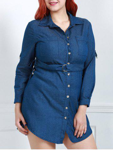 Store Turn-Down Collar Long Sleeve Belted Plus Size Jean Dress
