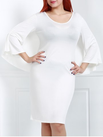 Outfits Plus Size V-Neck Modest Work Bodycon Caped Dress WHITE 3XL