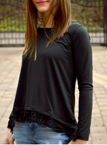 Chic Stylish Lace Spliced Hem Long Sleeve T-Shirt For Women - BLACK L Mobile