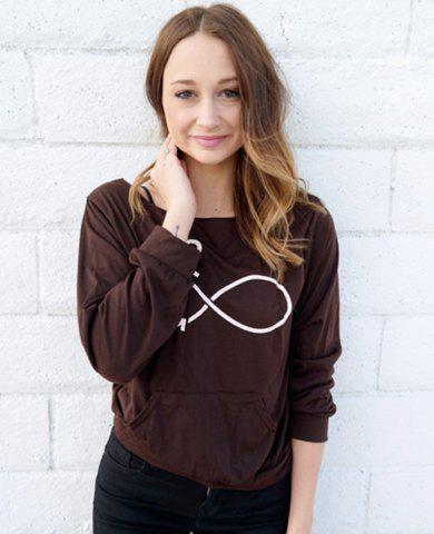 Fashion Casual Style Scoop Neck Long Sleeve Printed Women's T-Shirt - S DEEP GRAY Mobile