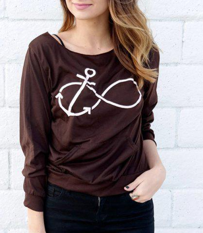Fashion Casual Style Scoop Neck Long Sleeve Printed Women's T-Shirt - M DEEP GRAY Mobile