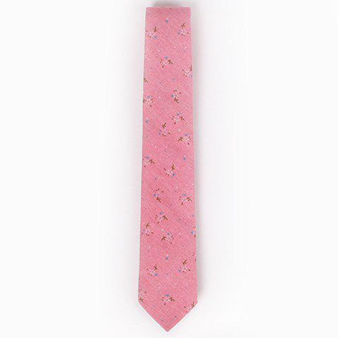 Discount Stylish Tiny Floral Pattern 6.5CM Width Tie For Men - PINK  Mobile