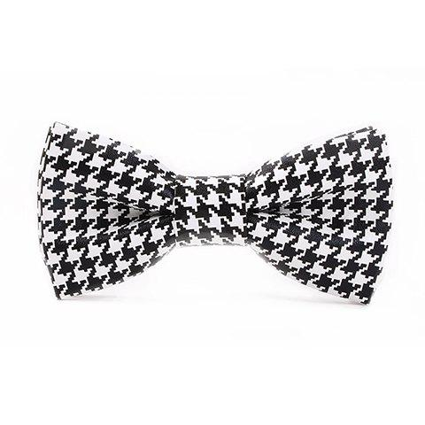 Stylish Houndstooth Pattern Black and White PU Bow Tie For Men - WHITE/BLACK