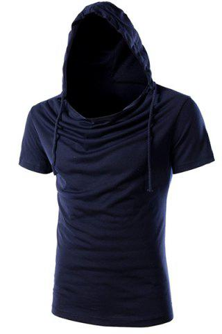 New Vogue Hooded Solid Color Short Sleeves Slimming T-Shirt For Men CADETBLUE 3XL