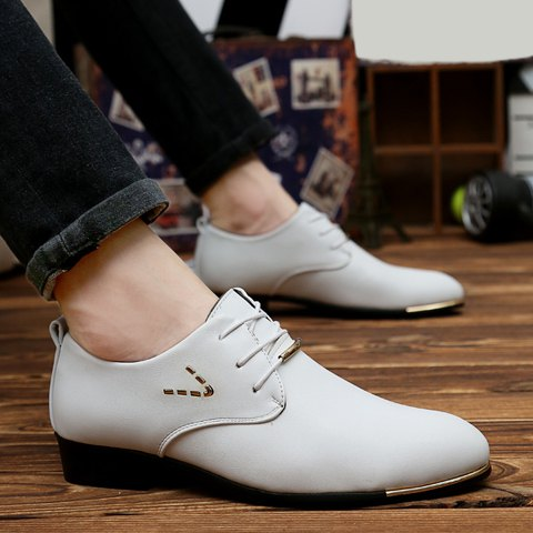 Unique Stylish Pointed Toe and Lace-Up Design Formal Shoes For Men - 42 WHITE Mobile
