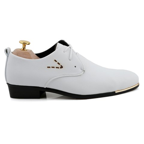 Chic Stylish Pointed Toe and Lace-Up Design Formal Shoes For Men - 44 WHITE Mobile