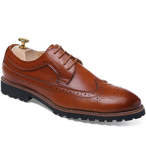 Trendy Trendy Engraving and PU Leather Design Formal Shoes For Men - 38 BROWN Mobile