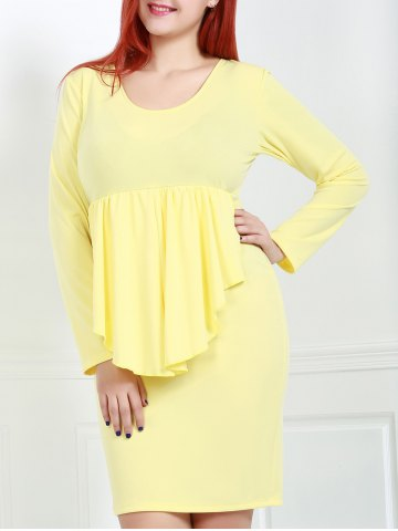 Discount Sexy Plunging Neck Long Sleeve Pure Color Plus Size Women's Dress