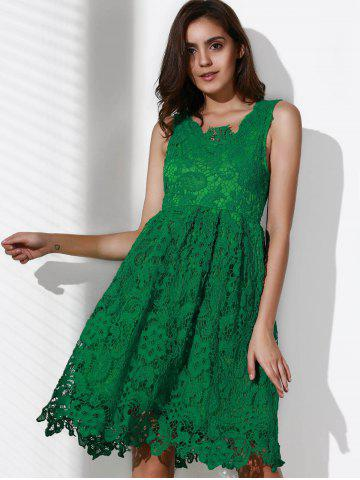 Store Lace Sleeveless A Line Cocktail Dress - L GREEN Mobile