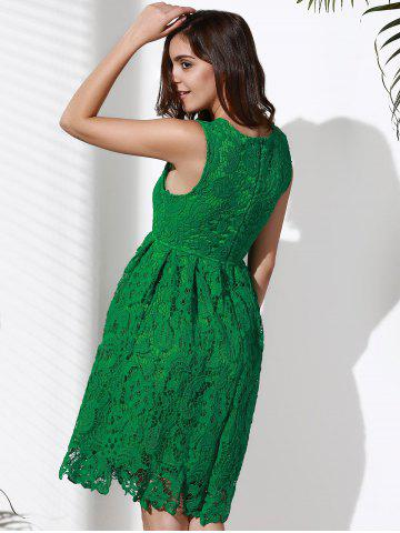 Buy Lace Sleeveless A Line Cocktail Dress - L GREEN Mobile