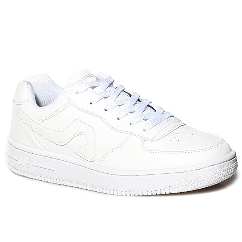 Fashion Fashion Lace-Up and PU Leather Design Sneakers For Women - 40 WHITE Mobile