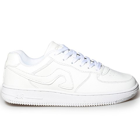 Buy Fashion Lace-Up and PU Leather Design Sneakers For Women - 39 WHITE Mobile