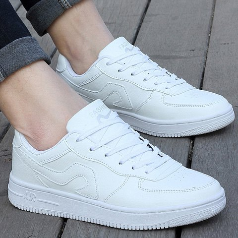 New Fashion Lace-Up and PU Leather Design Sneakers For Women - 39 WHITE Mobile