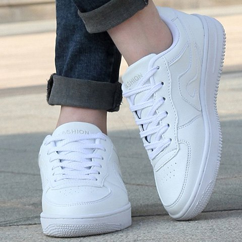 Outfits Fashion Lace-Up and PU Leather Design Sneakers For Women - 39 WHITE Mobile