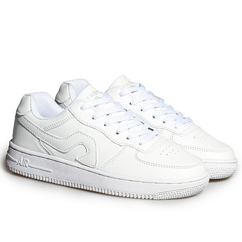 Trendy Fashion Lace-Up and PU Leather Design Sneakers For Women - 39 WHITE Mobile