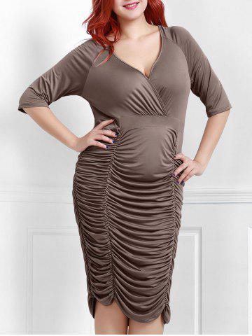Cheap V-Neck Ruched Bodycon Drape Midi Dress COFFEE 2XL